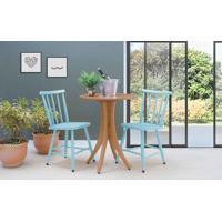 Mesa Com Duas Cadeiras Redonda Juliette - Jatobá E Azul Bebê