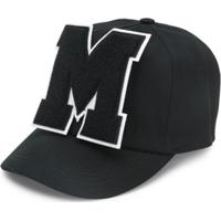 Msgm Kids Logo Appliqué Baseball Cap - Preto