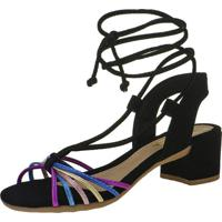 Sandália Salto Grosso Metalizada Com Tiras Coloridas 116.16.009 - Preta