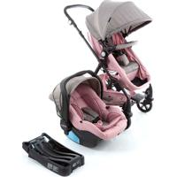 Carrinho Para Bebê Travel System Trio Poppy Rosa Mescla Cosco