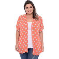 Kimono Coral Poá Plus Size