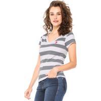 Camiseta U.S. Polo Estampada Branca/Azul-Marinho
