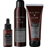 Combo Malbec Club: Gel Espuma P/ Barbear, 150Ml + Oleo Pre E Pos Barba Club, 25Ml + Creme De Barbear, 150Ml