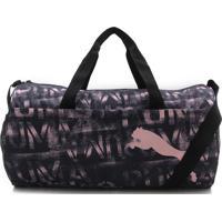 Bolsa Puma At Ess Barrel Bag Preta/Rosa