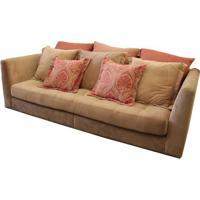 Sofa Berlim Com 3 Lugares Assento Veludo Rosa Base Metalica - 55945 Sun House