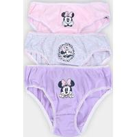 Calcinha Infantil Disney Evanilda Kit C/3 Minnie -01.03.0015 - Feminino-Mescla