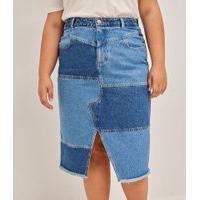 Saia Midi Jeans Com Recortes E Fenda Curve & Plus Size | Ashua Curve E Plus Size | Azul | 48