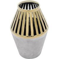 Vaso Decorativo Com Vazados- Cinza & Dourado- 19Xã˜13Rojemac
