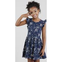 Vestido Infantil Estampado De Borboletas Com Babado Azul Marinho