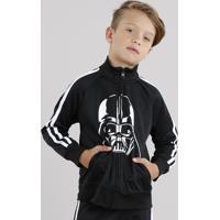 Jaqueta Infantil Darth Vader Em Moletom Esportiva Com Listras Laterais Preta