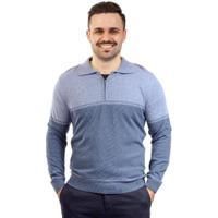 Blusa Gola Polo De Malha Sumaré Masculina - Masculino-Azul Claro