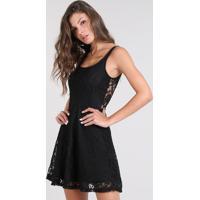 ca2567a76 CEA; Vestido Feminino Midi Em Renda Alças Finas Preto