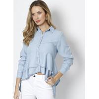 Camisa Assimétrica Com Babados - Azul Claro - Dudalidudalina