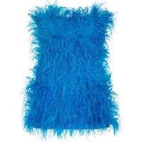 Attico Vestido Rosie Com Plumas - Azul