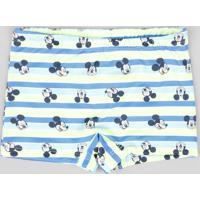 Sunga Infantil Boxer Mickey Listrada Com Proteção Uv50+ Azul
