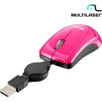 Mini Mouse Retrátil Rosa - Multilaser - Cabo Retrátil, Conexão Via Usb, Resolução 800 Dpi - Mo161
