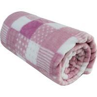 Cobertor Patchwork Em Microfibra- Rosa Claro & Branco