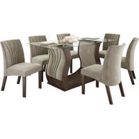 Conjunto De Mesa 1.70M Com 6 Cadeiras Fortuna Chocolate Tecido Veludo Pena Bege Lj Móveis