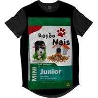 Camiseta Longline Lf Ração Nais Junior Sublimada Preta