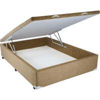Cama Box Baú Chenille Caramel Com Pistão - Casal - 138 X 188