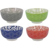 Jogo De Bowls- Cinza & Verde- 4Pã§Sbtc Decor