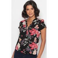 Blusa Floral Com Botãµes - Preta & Rosa - Vip Reservavip Reserva