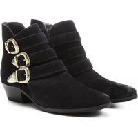 Bota Couro Cano Curto Shoestock Fivelas - Feminino-Marinho