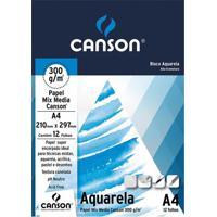 Bloco Artístico A4 Canson Aquarela Universitário 300G Com 12 Folhas