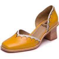 Sapato Mzq Salto Grosso Amarelo - Amarelo / Off White - 9300