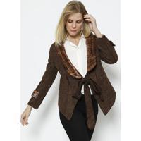 Casaco Com Lã & Amarração- Marrom- Cotton Colors Extcotton Colors Extra