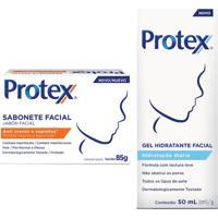 Kit Sabonete Em Barra Facial Protex Anti Cravos E Espinhas + Gel Hidratante Facial Protex Hidratação Diária 1 Unidade