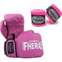 Kit Boxe Muay Thai Fheras New Top Luva + Bandagem Trade Rosa 003