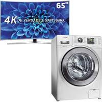 """Smart Tv Led 65"""" Uhd Premium 4K Curva Samsung 65Ku6500 + Lavadora E Secadora De Roupas Samsung Wd106Uhsawq 110V Branca - 10,1Kg"""