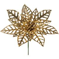 Flor Decoração Natal P/Árvore Natal 20Cm Dourado