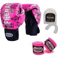 Kit Boxe Muay Thai Fheras New Top Luva + Bandagem Grafite Rosa 006