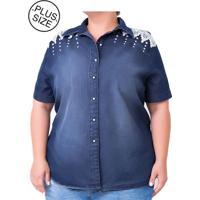Camisa Jeans Plus Size - Confidencial Extra Com Bordado - Azul