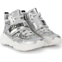 Moschino Kids Tênis Cano Alto Com Estampa De Logo - Prateado