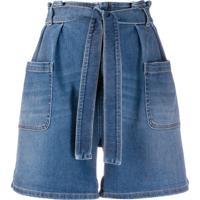 Redvalentino Bermuda Jeans Modelagem Larga - Azul