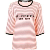 Philosophy Di Lorenzo Serafini Striped Logo T-Shirt - Branco