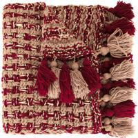0711 Poncho Cachecol Com Pompom - Vermelho