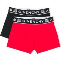 Givenchy Kids Conjunto 2 Cuecas Boxer Com Logo - Preto