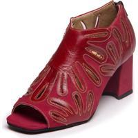 Sandalia Mzq Ankle Boot Vermelha Amora Marsala Sophia 6004