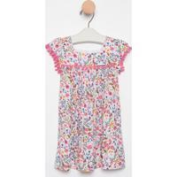 Vestido Floral Com Linho- Rosa & Off White- Pequena Pequena Mania