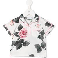 Dolce & Gabbana Kids Camisa Polo Com Estampa De Rosas Tropicais - Branco