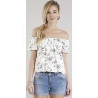 Blusa Ombro A Ombro Estampada Floral Off White