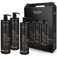 Kit Tratamento Gold Brush Duetto 1 Shampoo 1L + 1 Selante 1L + 1 Máscara 1L - Unissex-Incolor