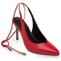 Sapato Morena Rosa Chanel Com Amarracao Vermelho