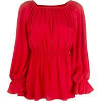 Pinko Blusa Com Franzido - Vermelho