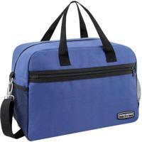 Bolsa De Viagem Com Zíper- Azul & Preta- 28X38X16Cmjacki Design