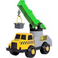 Veículo Roda Livre - Caminhão Super Guindaste - Amarelo E Cinza - Maptoy